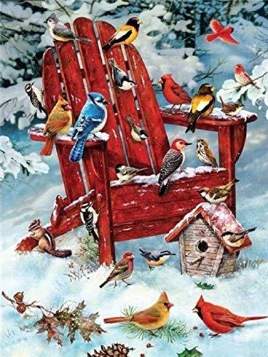 NSWZX 5D Diy diamante pintura nieve silla roja pájaro diamante pintura cristal artista niños, para del hogar obra arte 40X50Cm