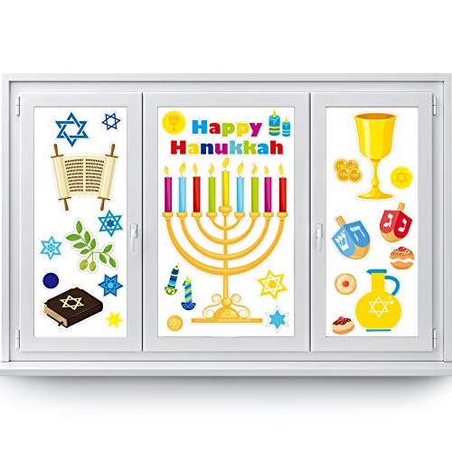 Outus Hanukkah Window Clings Menorah and Star of Window Decals Hanukkah Decorations Vinyl Cling Decor for Window Sliding Glass Doors 84PCS