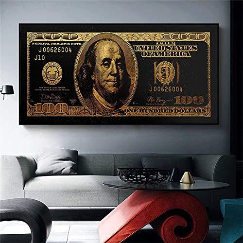 BGFDV Pintura en Lienzo estándar de Oro Moderno Estilo de Dinero Popular Arte Callejero Arte de Pared Inspirador Cuadros de Pared para la decoración del hogar