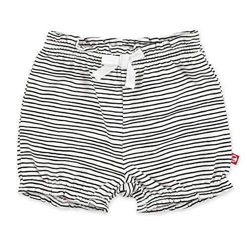 Zutano Baby Girl Organic Cotton Ruffle Shorts, Pencil Stripe, 24M