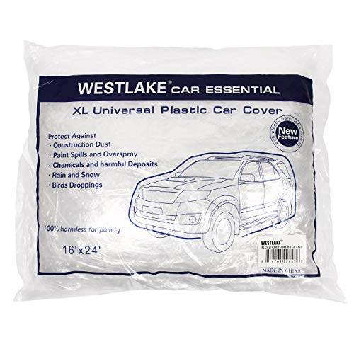 West Lake Car Essential Universal Disposable Clear Plastic Car Cover Suitable for SUV Sedan Mini Van, 24 Feet by 16 Feet Extra Large Size with Elastic Band