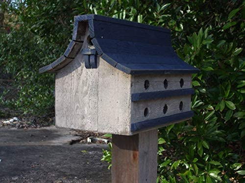 Purple Martin bird house Navy Blue and white bird house distressed bird house rustic bird house product image