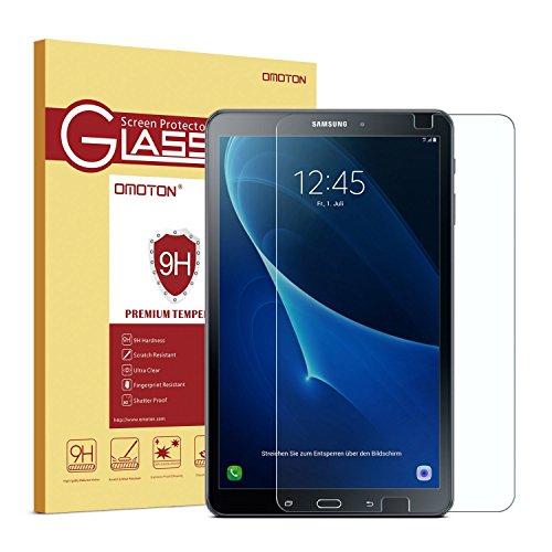 OMOTON Panzerglas Schutzfolie für Samsung Galaxy Tab A 10.1 (2016) T585/ T580, [2.5D Runde Kante] [9H Härte] [Kristall-klar] [kratzfest] [Bläschen-frei] Glasfolie für Galaxy Tab A 10.1