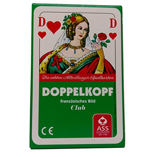 Premium Doppelkopfkarten in Faltschachtel, französisches Bild, Club, ASS Altenburger Spielkarten, 50 Blatt Doppelkopf Spielkarten inkl. Turnier Spielregeln des Deutschen Doppelkopf-Verbandes