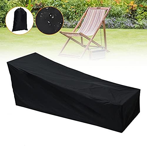Gartenliege Abdeckung, Sonnenliege Schutzhülle 210*75*80|40cm, Gartenliege Abdeckplane 210D Oxford Wasserdicht, Winddicht, UV-Beständig Schutzhülle für Sonnenliege Gartenmöbel Deckchair Liegestuhl