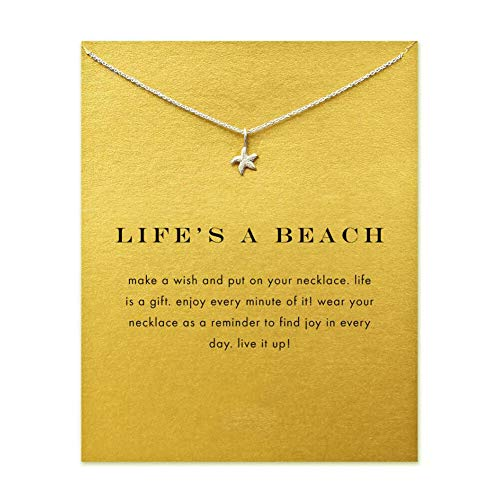 LANG XUAN Friendship Starfish Necklace Good Luck Butterfly Pendant Chain Necklace with Message Card Gift Card for Women Girl