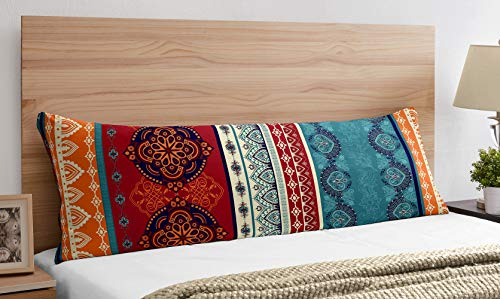 Boho Mandala Bohemian Chic decorative accent couch long throw zipper body pillow cover case Turquoise Hipster Hippie Patterned Room Decor Ethnic Vintage 54x20 Indian Tapestry Colorful Teal Blue Red
