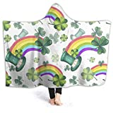 Fall Hooded Throw Blanket for Adult, Hat Clover Rainbow Fluffy Blanket Warm Microfiber Covers for Chair Reading A Book, Ptonuic