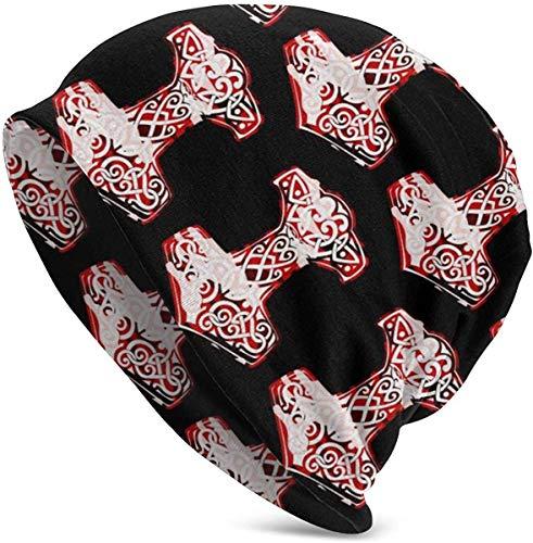 LHB-NANC Viking Hammer Norse Unisex Soft Beanie Mütze Slouchy Chemo Hat Stretch Skull Cap Schlafmütze