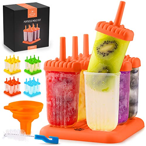 Zulay Kitchen Popsicle Molds with Sticks - 6-Piece BPA Free Reusable Popsicle and Ice Pop Molds with Drip Guard - Easy Release Ice Popsicle Maker Mold Set with Tray, Funnel & Brush (Orange)