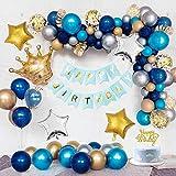 誕生日 飾り付け バルーン 風船 HAPPY BIRTHDAY 装飾 バースデー ガーランド バースデー パーティー 祝い風船 バルーンアーチ バルーンセット ブルー+ゴールド色