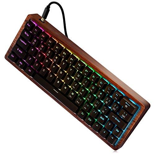 MAIDERN Mechanische RGB-Gaming-Tastatur, Hot-Plugging Compact 64 Tasten - Cherry MX Red Schaltet - RGB LED Hintergrundbeleuchtung und Holzhülle für Mac PC Laptop EIN(QWERTY Layout)