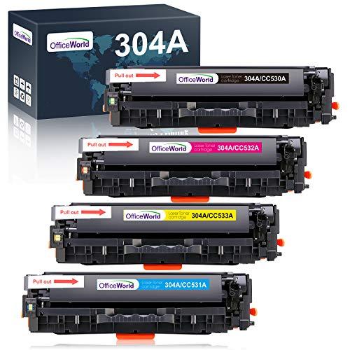 OFFICEWORLD Compatibile HP 304A CC530A CC531A CC532A CC533A Toner Cartucce Lavorare con HP Color LaserJet CM2320fxi CM2320nf CP2320 CP2025 CP2025n CP2025dn (1 Nero, 1 Ciano, 1 Magenta, 1 Giallo)