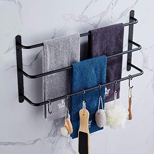 Toallero de tres capas, mejorado con seis ganchos movibles de acero inoxidable, juego de accesorios de baño para colgar esponja de baño y toallas negro mate, 45 cm KJWY005HEI-45 cm