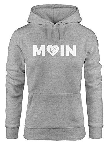 Preisvergleich Produktbild MoonWorks Cooler Kapuzen-Pullover Damen Moin Love Herz mit Anker Nordsee Hoodie grau S