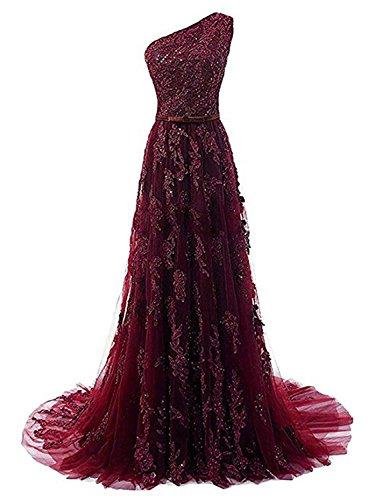 JAEDEN Ballkleider Abendkleider Lang Hochzeitskleider Damen Brautkleid Spitze mit Schleppe EIN Schulter Burgund EUR42