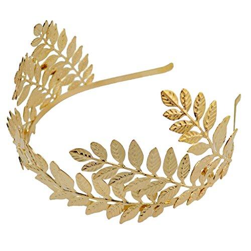 P Prettyia Römischen Boho Stil Haar Krone Göttin Hochzeit Tiara Kronen Blätter Leaf Stirnband Haarband Haarschmuck Hochzeit Brautschmuck - Gold 2