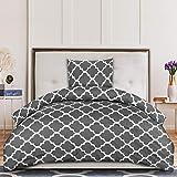Utopia Bedding Bettwäsche-Set - Bedrucktes Mikrofaser Bettbezug 135x200 cm und 1 Kopfkissenbezug 80x80 cm - Grau Bettbezüge Set mit Reißverschluss - Gittermuster