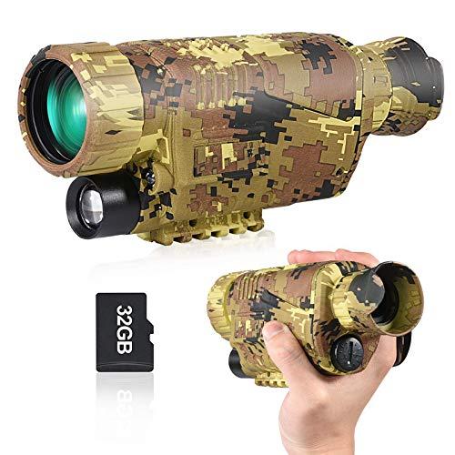 DIELUNY 5X40 Nachtsichtoptik-Zielfernrohr HD Digitales Nachtsicht-Infrarot-Monokular mit Foto- und Videowiedergabefunktion für Jagd und Wildbeobachtung, Nachtsicht-Monokularbrille