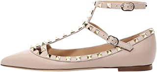 Women's Ankle Strap Studded Pointed Toe Pumps Rivets T-Strap Flat Pumps Dress