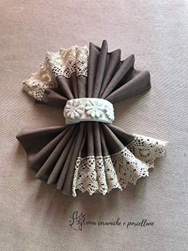 Porta tovagliolo con fiori, portatovaglioli personalizzati fatti a mano in ceramica bianca artigianale artistica