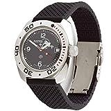 Vostok Amphibian #710634 Scuba Dude Reloj de pulsera automático para hombre, cuerda automática, estilo militar, color negro