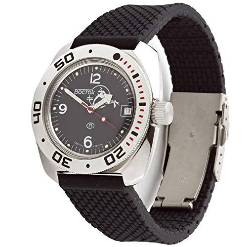 Vostok Amphibian Scuba Dude Automatik Herren Armbanduhr Automatik Militär Taucher Schwarz #710634