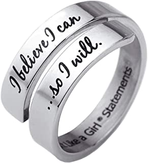 Fight Like a Girl I Believe I Can So I Will Stainless Steel Open Wrap Ring