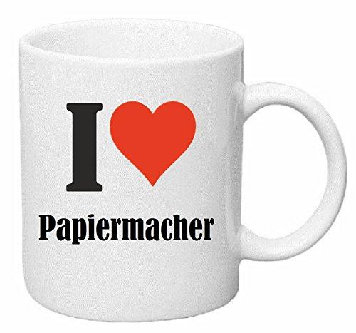 Reifen-Markt Kaffeetasse I Love Papiermacher Keramik Höhe 9,5cm ? 8cm in Weiß
