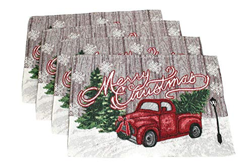 Twisted Anchor Trading Co 4 Pc Set - Merry Christmas Placemats Set - Tapestry Style Holiday Placemats with Large Vintage Truck Decor Design - Comes in an Organza Bag for Giving!