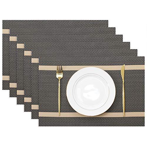 Olrla napperons Jeu de 6, 30x45cm Lavable Table à Manger Tapis, Fil d