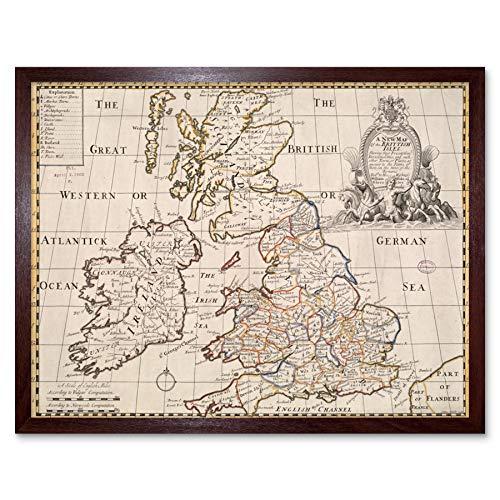 Wells 1719 Map Engels Britain Ireland Roman Empire Wall Art Print Framed 12x16 kaart Groot-Brittannië Ierland Romeinse Rijk muur