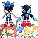 Peluche Sonic Exe de 14.6 Pulgadas, Ray The Flying Squirrel y Bomb Duck Plush, Dark Sonic, Muñeco sónico de Peluche Suave para la colección Cartoon Sonic Lovers (Sonic.exe+Dark Sonic)
