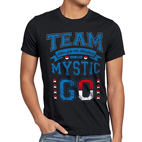 style3 Team Blau Mystic Herren T-Shirt Weisheit, Größe:L;Farbe:Schwarz