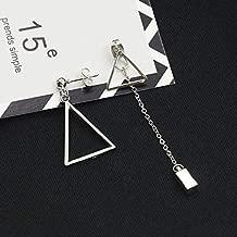 Ywlh Korean ear ornaments simple wind asymmetric geometry triangle Tassel Earrings with all kinds of metal Earrings(01 silver 2210)