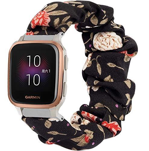 Compatible con las correas Garmin Venu Sq, YOUkei tela elástica elástica banda de reloj para mujer, bonitas correas de repuesto compatibles con Garmin Venu Sq Smartwatch (flor negra)