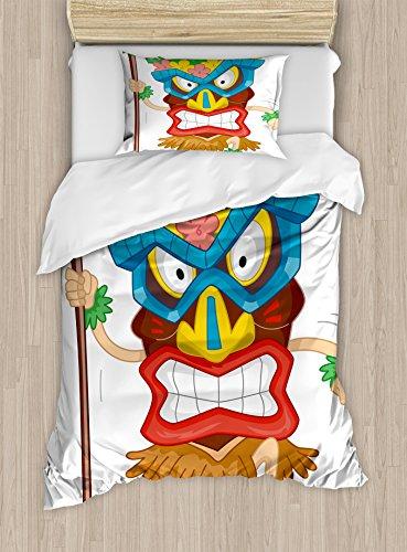 Tiki Bar Decor de edredn por Ambesonne, Native Man Wearing mscara ilustracin Cartoon Tribal disfraz primitivo Ritual, decorativo juego de cama con fundas de almohada, multicolor