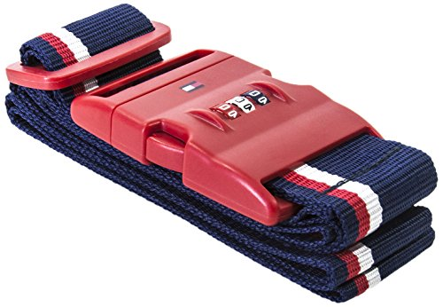 Tommy Hilfiger Luggage Strap with Combination Lock, Red