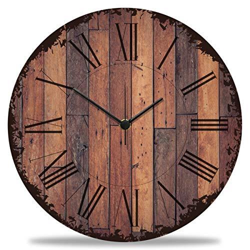 GRAVURZEILE Wanduhr aus Holz Vintage Dielen - 100% Lautlos kein Ticken absolut geräuschlos - 30 cm Ø - Design Wanduhren für Wohnzimmer Schlafzimmer & Küche
