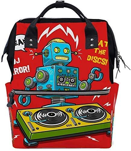Sac à Dos de Voyage Occasionnel DJ Robot Jouant à la Platine Vinyle drôle Pop Art Lightweight School Bookbag Sac...