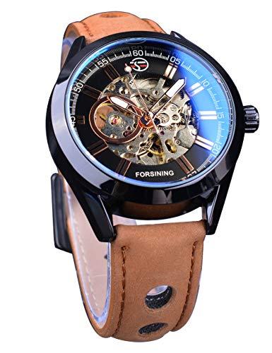 Forsining 3D Blue Hardlex Glass Mens Transparent Sport Casual Mechanical Automatic Wrist Watch Top Brand Luxury