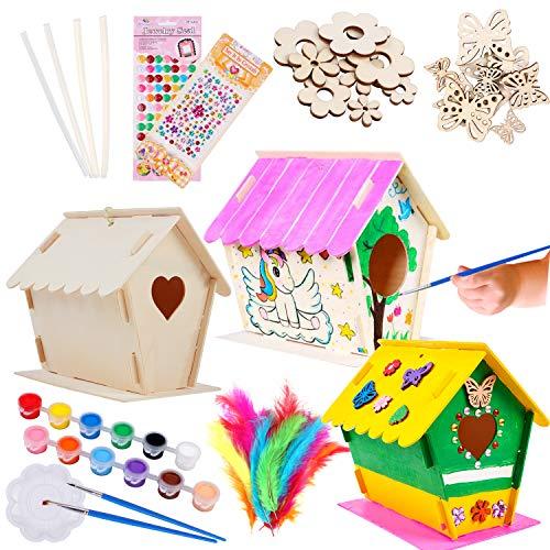 Tacobear 3Stück Vogelhaus Bausatz Kinder Holz Vogelhaus Bastelset Kinder Vogelhaus zum Bemalen und Basteln DIY Kreativ Spielzeug Geschenk für Kinder Geburtstag Weihnachten