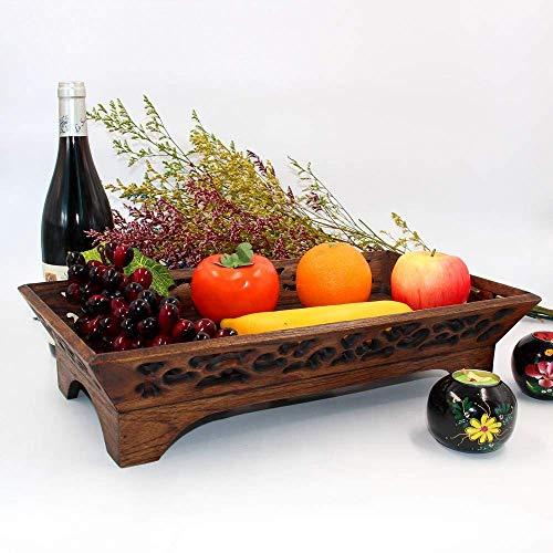 ZXL Plat fruit Thuis Woonkamer Teak plat fruit Handgesneden plat snoep Opslag Fruit en groenteplaat