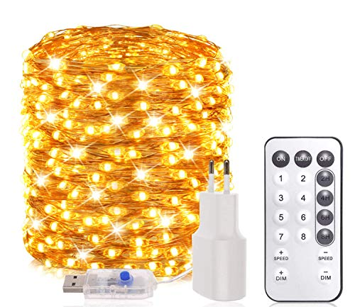 20M Led Lichterkette Innen/Außen, 200er LEDs Lichterkette dimmbar mit Fernbedienung, USB und Adapter betrieben, 8 Modi und Timer, warmweiße Lichterketten warmweiße für Zimmer Deko Party Garten Balkon