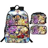 Mochila Dragon Ball Escolar, Dragon Ball Goku Mochilas Escolares Juveniles para Niños Infantil 3 Pcs Adolescentes Sets de Mochila con Bolsa de Almuerzo y Estuche de Lápices (02)