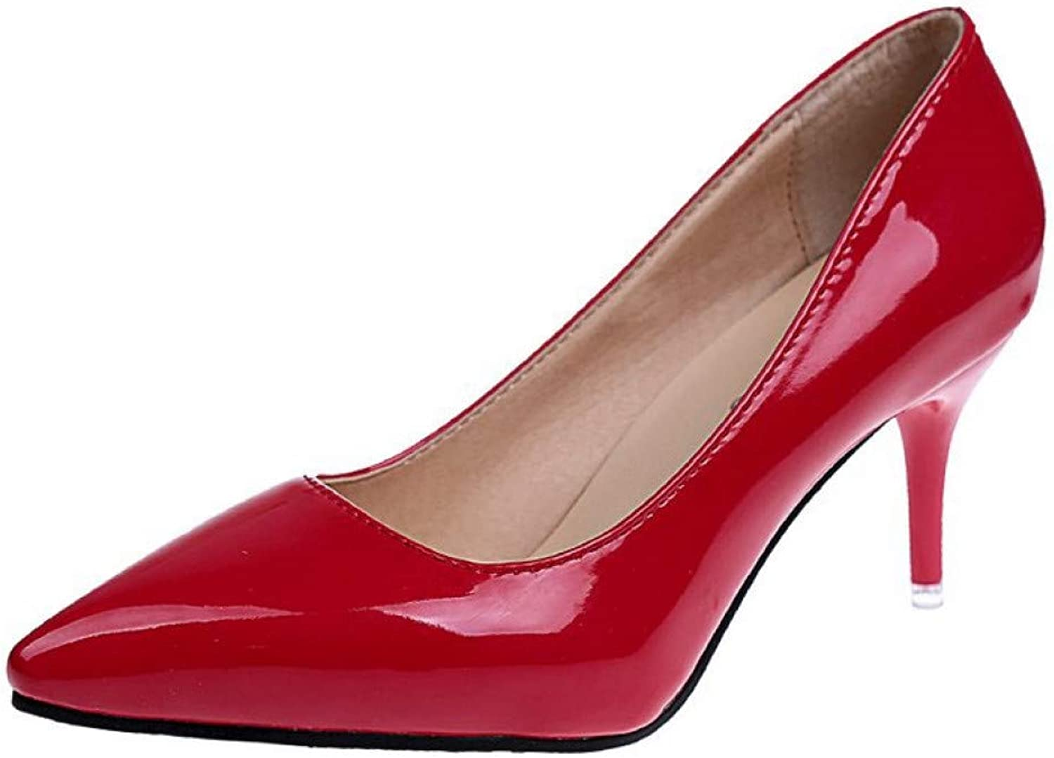 UKJSNHH igh Heels Women shoes Red Pointed Toe Pumps Patent Leather Dress shoes High Heels Boat shoes Wedding shoes