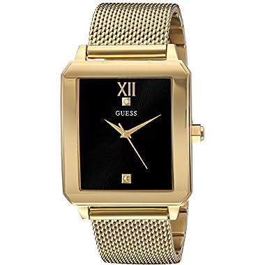GUESS Retangular Gold-Tone + Stainless Steel Mesh Bracelet Watch wtih Black Genuine Diamond Dial. Color: Gold-Tone…