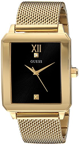 GUESS  Retangular Gold-Tone + Stainless Steel Mesh Bracelet Watch wtih Black Genuine Diamond Dial. Color: Gold-Tone (Model: U1074G3)