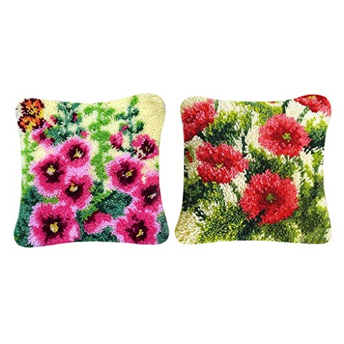Bonarty 2 Juegos Kit de Gancho de Pestillo de Almohada de Flores con Herramientas Básicas Kit de Fabricación de Fundas de Almohada DIY
