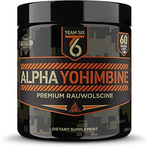 Team Six Supplements Alpha Yohimbine – Proven Yohimbe Bark Fat Burner, Weight Loss Pills That Work Fast - 3rd Party Tested for Purity and Potency, 60 veggie capsules